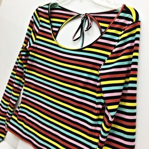 C. RONSON Candy Stripe Long Sleeve Top Med